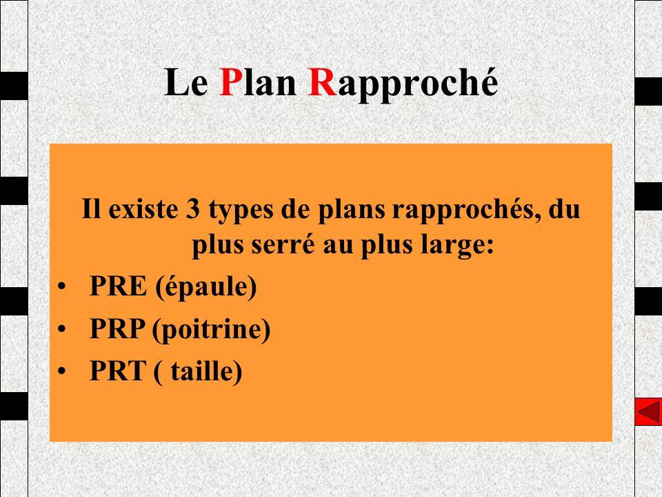 Il existe 3 types de plans rapprochés, du plus serré au plus large: PRE (épaule) PRP (poitrine) PRT ( taille) Le Plan Rapproché
