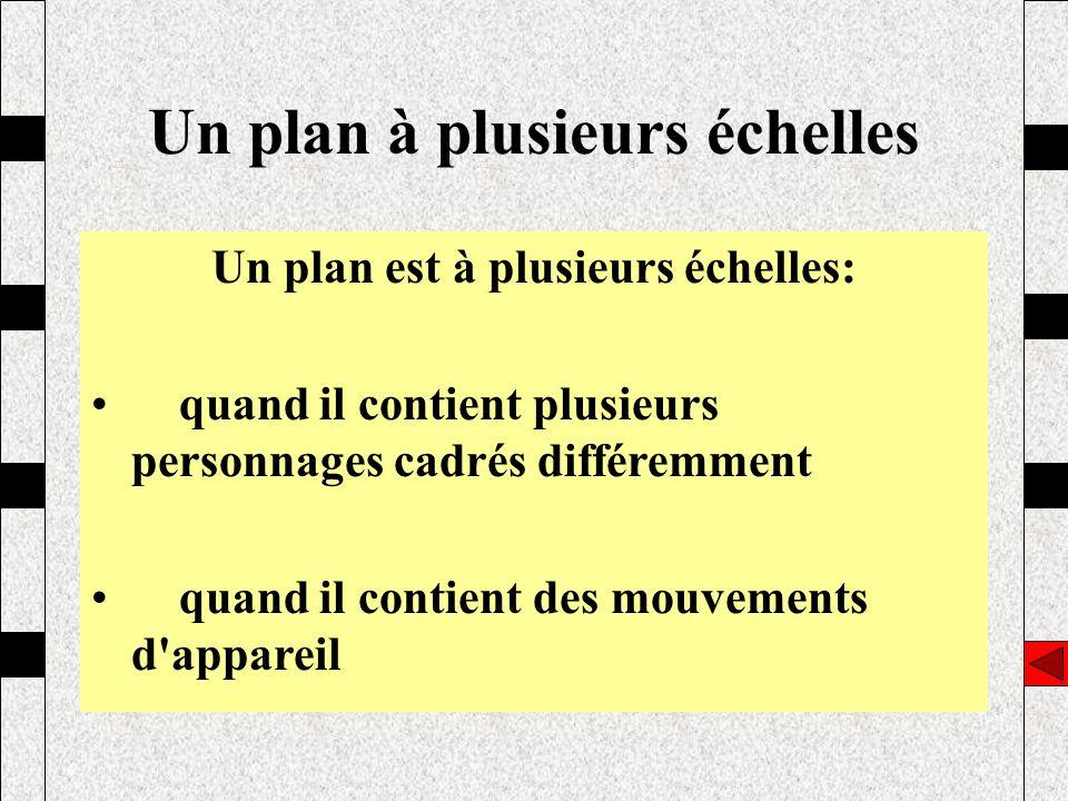 Un plan est à plusieurs échelles: quand il contient plusieurs personnages cadrés différemment quand il contient des mouvements d'appareil Un plan à pl