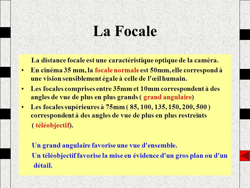 La distance focale est une caractéristique optique de la caméra. En cinéma 35 mm, la focale normale est 50mm, elle correspond à une vision sensiblemen