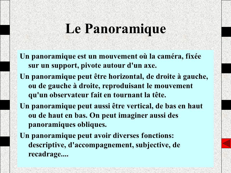 Un panoramique est un mouvement où la caméra, fixée sur un support, pivote autour d'un axe. Un panoramique peut être horizontal, de droite à gauche, o