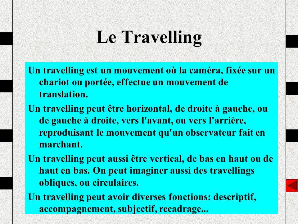 Un travelling est un mouvement où la caméra, fixée sur un chariot ou portée, effectue un mouvement de translation. Un travelling peut être horizontal,