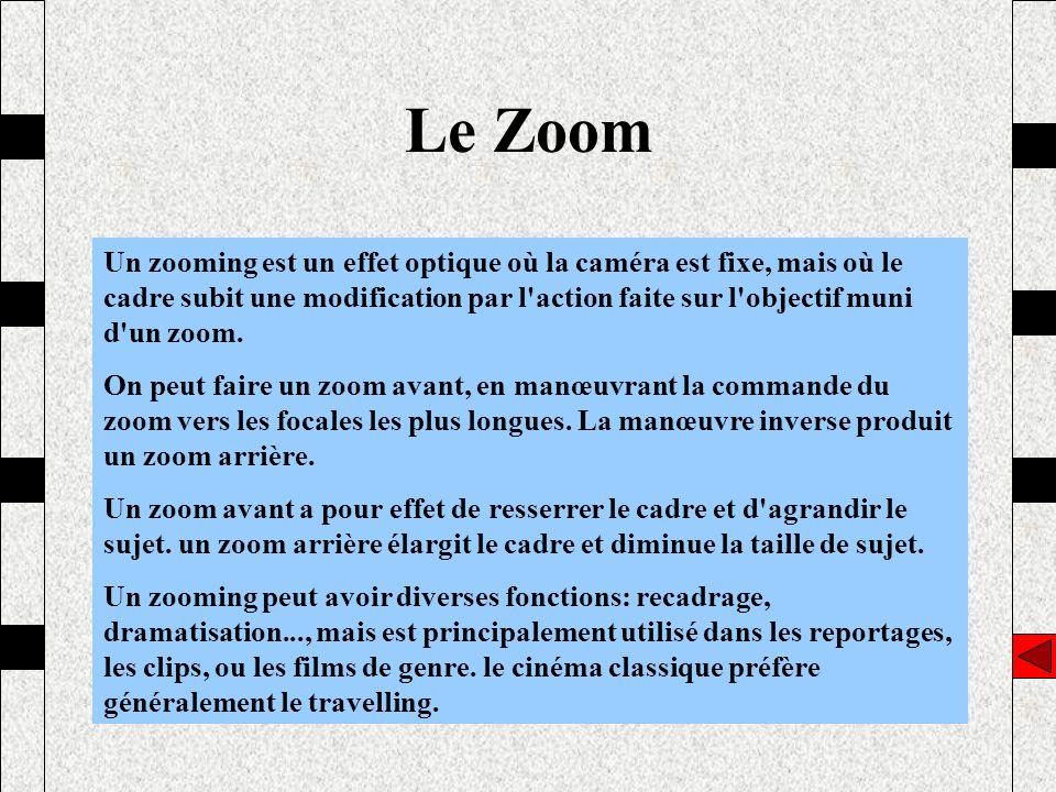 Le Zoom Un zooming est un effet optique où la caméra est fixe, mais où le cadre subit une modification par l'action faite sur l'objectif muni d'un zoo
