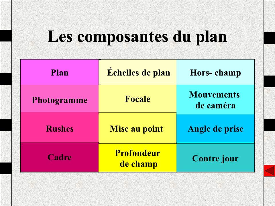 Les composantes du plan PlanÉchelles de planHors champ PhotogrammeFocaleMouvements de caméra RushesMise au pointAngle de prise CadreProfondeur de cham