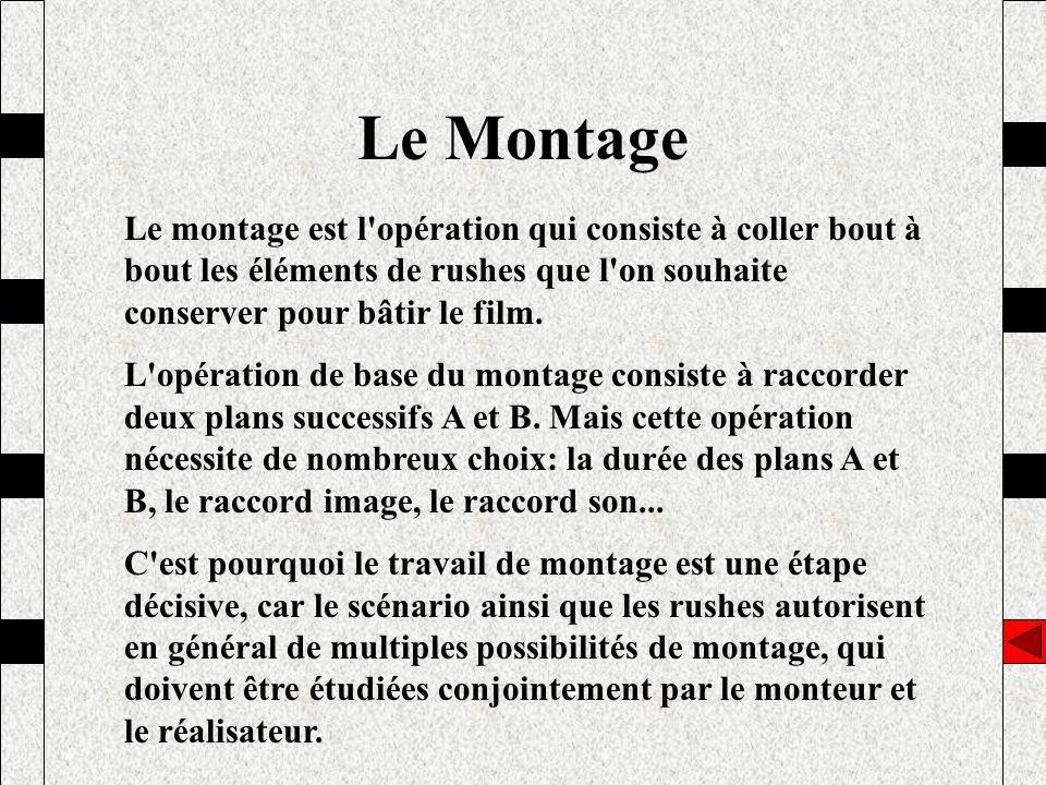 Le Montage Le montage est l'opération qui consiste à coller bout à bout les éléments de rushes que l'on souhaite conserver pour bâtir le film. L'opéra