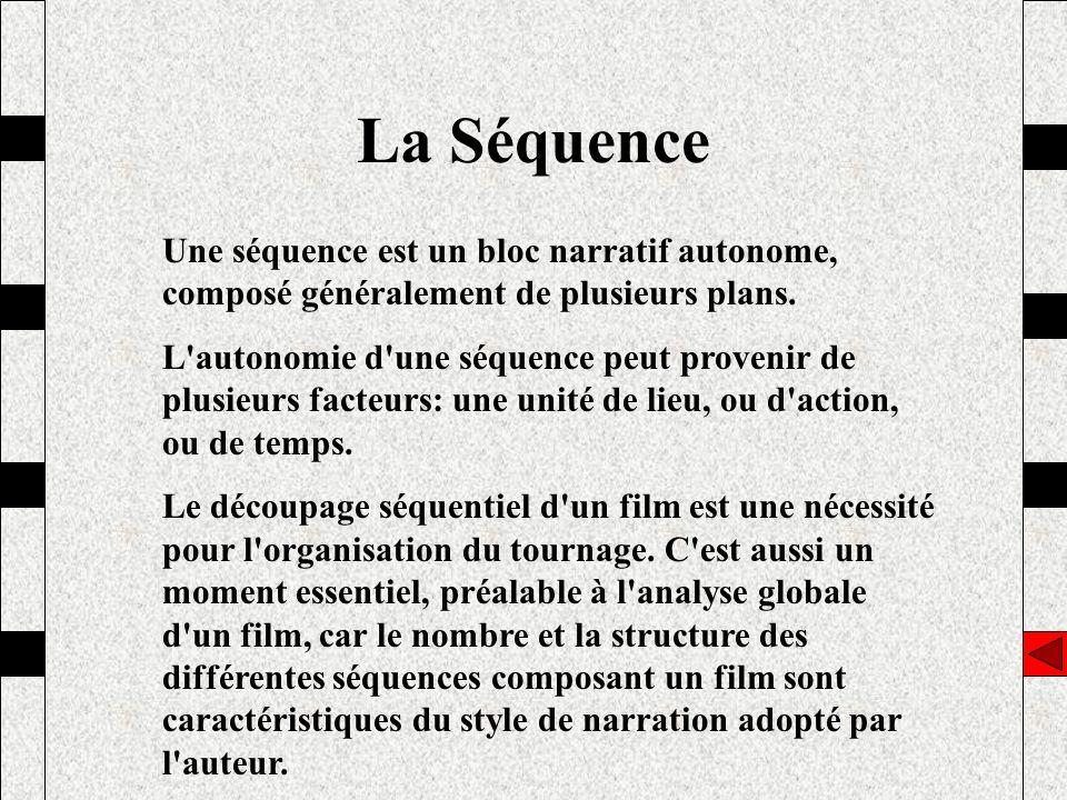 La Séquence Une séquence est un bloc narratif autonome, composé généralement de plusieurs plans. L'autonomie d'une séquence peut provenir de plusieurs
