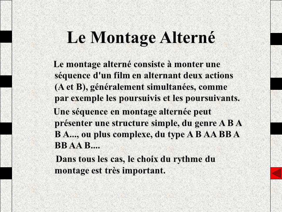 Le montage alterné consiste à monter une séquence d'un film en alternant deux actions (A et B), généralement simultanées, comme par exemple les poursu