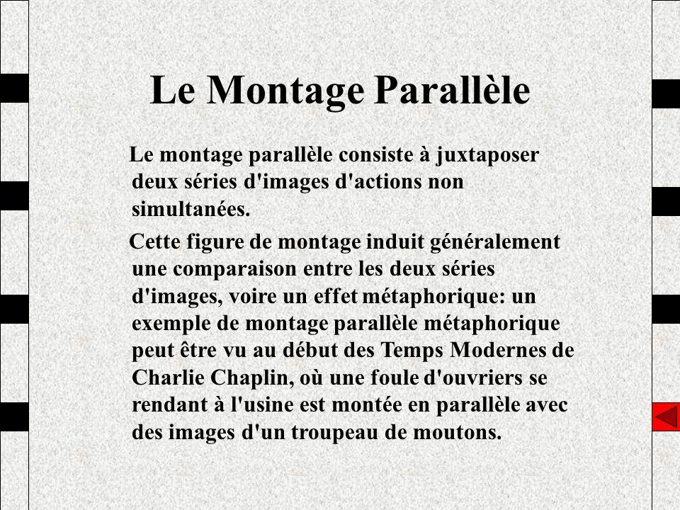 Le montage parallèle consiste à juxtaposer deux séries d'images d'actions non simultanées. Cette figure de montage induit généralement une comparaison