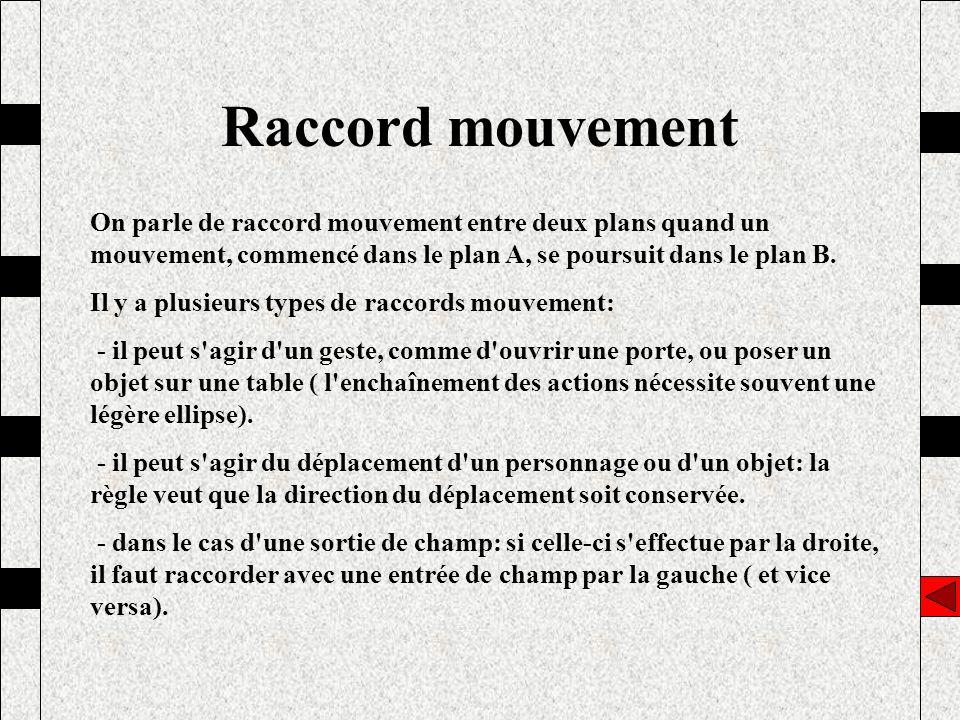 Raccord mouvement On parle de raccord mouvement entre deux plans quand un mouvement, commencé dans le plan A, se poursuit dans le plan B. Il y a plusi