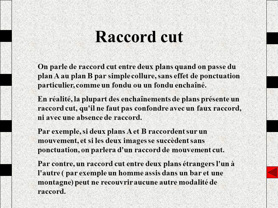 Raccord cut On parle de raccord cut entre deux plans quand on passe du plan A au plan B par simple collure, sans effet de ponctuation particulier, com