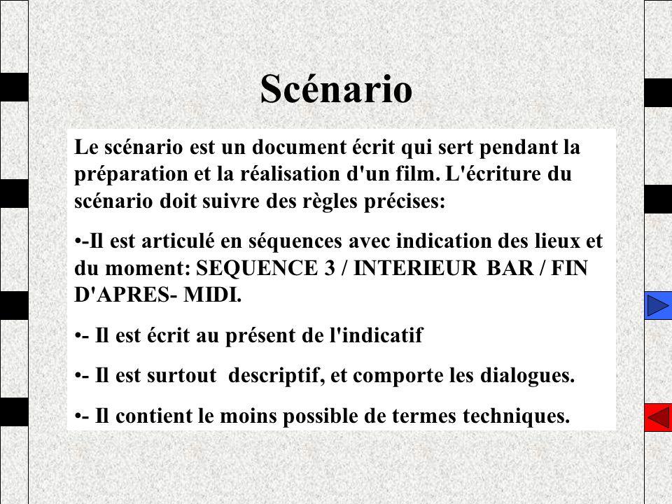 Scénario Le scénario est un document écrit qui sert pendant la préparation et la réalisation d'un film. L'écriture du scénario doit suivre des règles