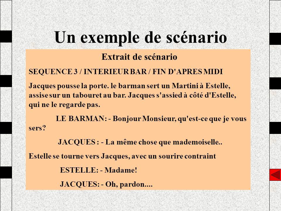 Un exemple de scénario Extrait de scénario SEQUENCE 3 / INTERIEUR BAR / FIN D'APRES MIDI Jacques pousse la porte. le barman sert un Martini à Estelle,