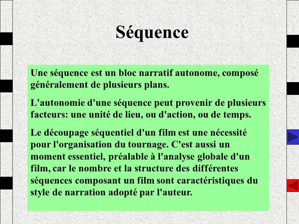 Séquence Une séquence est un bloc narratif autonome, composé généralement de plusieurs plans. L'autonomie d'une séquence peut provenir de plusieurs fa
