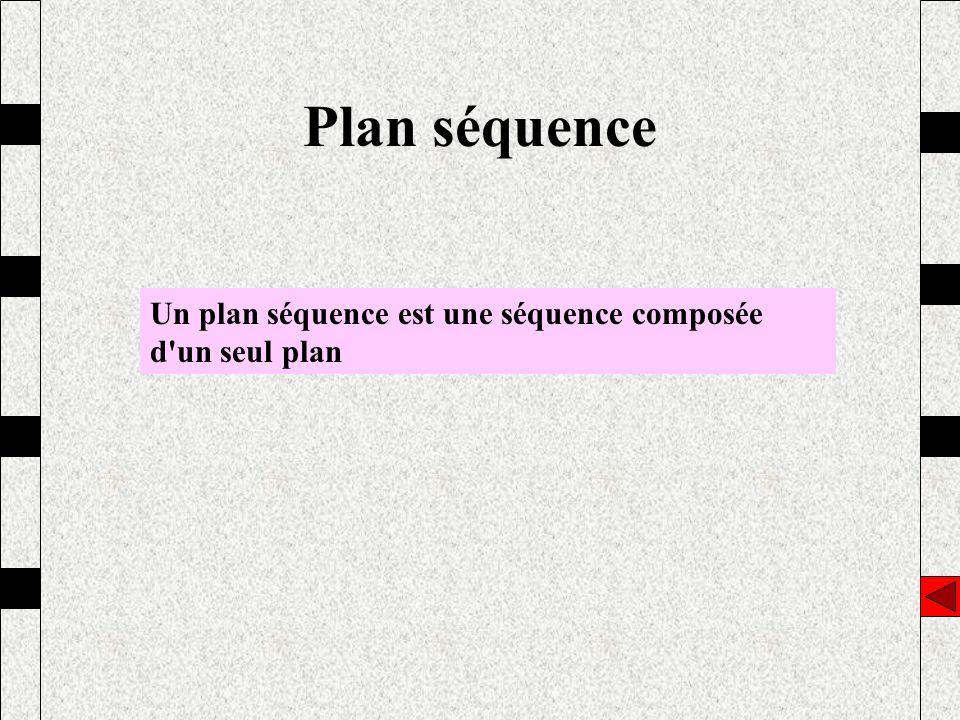 Plan séquence Un plan séquence est une séquence composée d'un seul plan