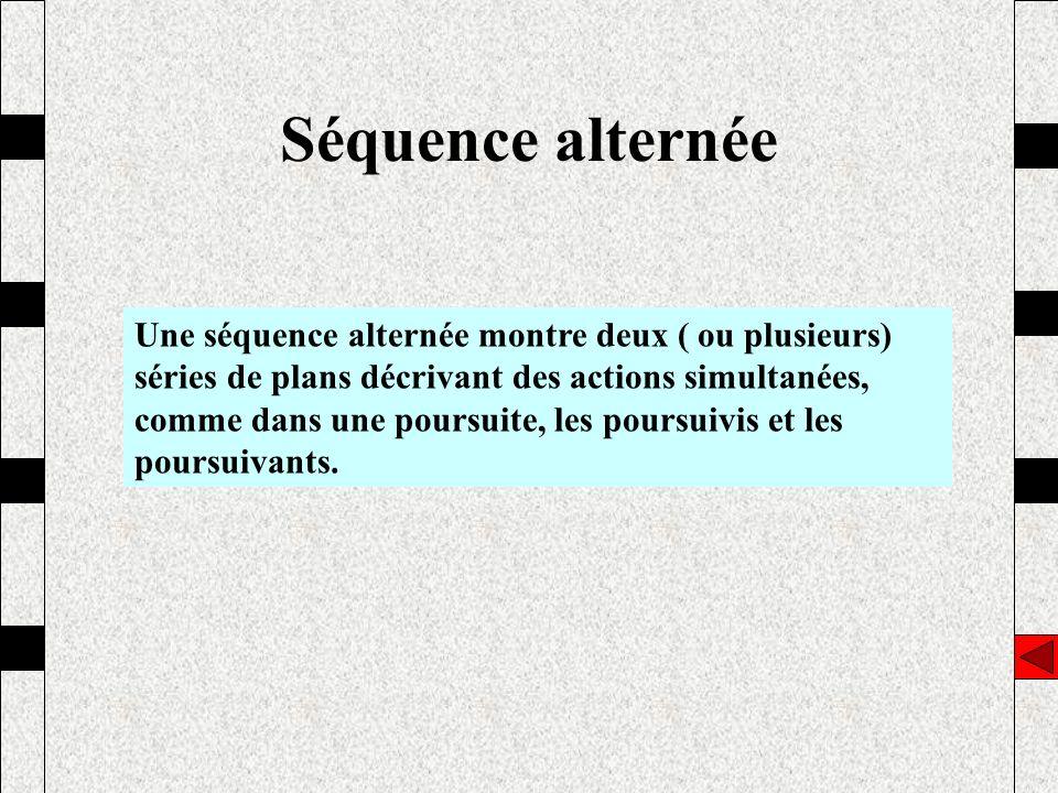 Séquence alternée Une séquence alternée montre deux ( ou plusieurs) séries de plans décrivant des actions simultanées, comme dans une poursuite, les p