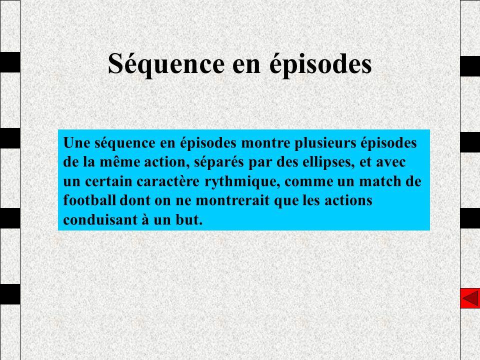 Séquence en épisodes Une séquence en épisodes montre plusieurs épisodes de la même action, séparés par des ellipses, et avec un certain caractère ryth