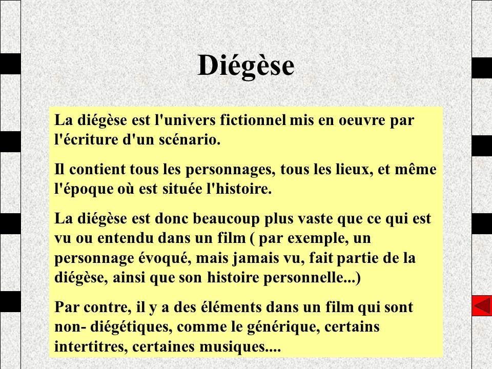 Diégèse La diégèse est l'univers fictionnel mis en oeuvre par l'écriture d'un scénario. Il contient tous les personnages, tous les lieux, et même l'ép