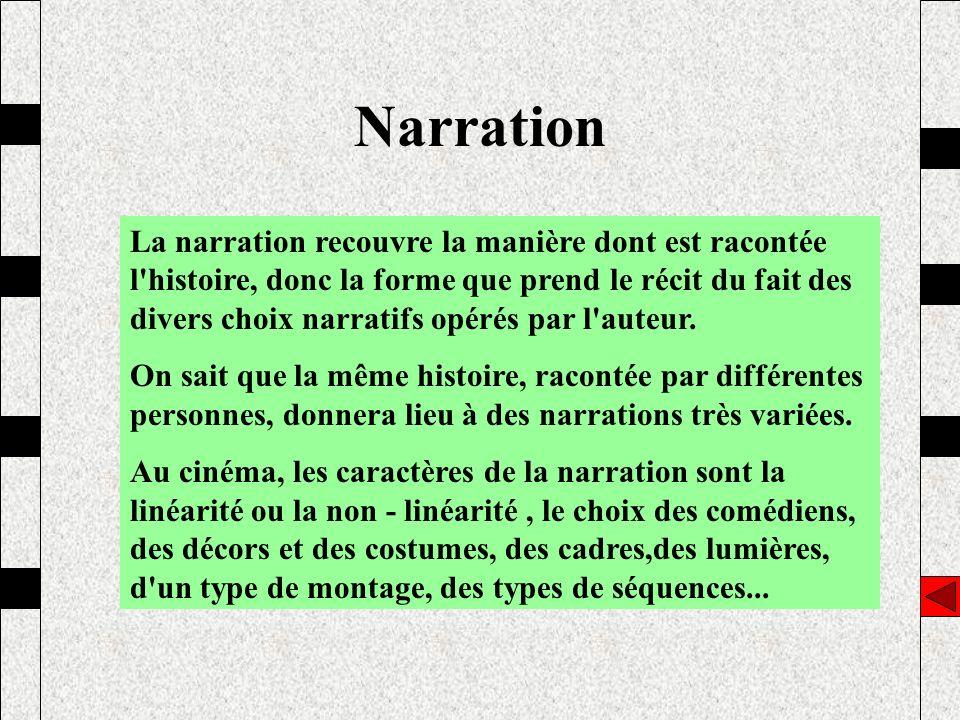 Narration La narration recouvre la manière dont est racontée l'histoire, donc la forme que prend le récit du fait des divers choix narratifs opérés pa