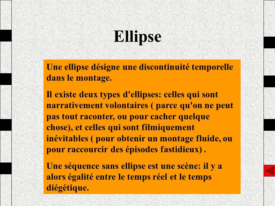 Ellipse Une ellipse désigne une discontinuité temporelle dans le montage. Il existe deux types d'ellipses: celles qui sont narrativement volontaires (