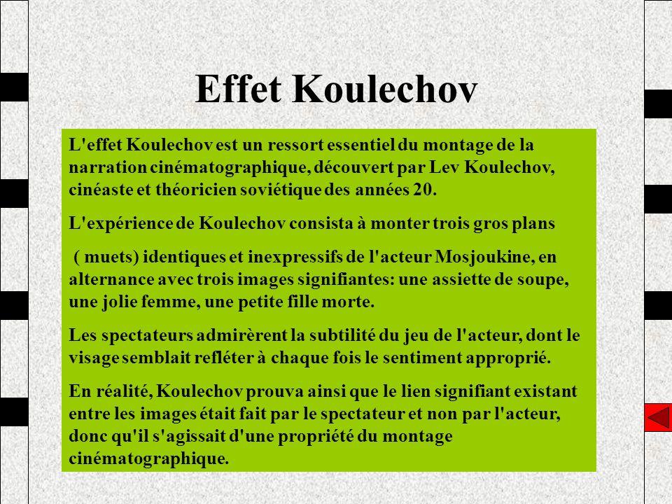 Effet Koulechov L'effet Koulechov est un ressort essentiel du montage de la narration cinématographique, découvert par Lev Koulechov, cinéaste et théo