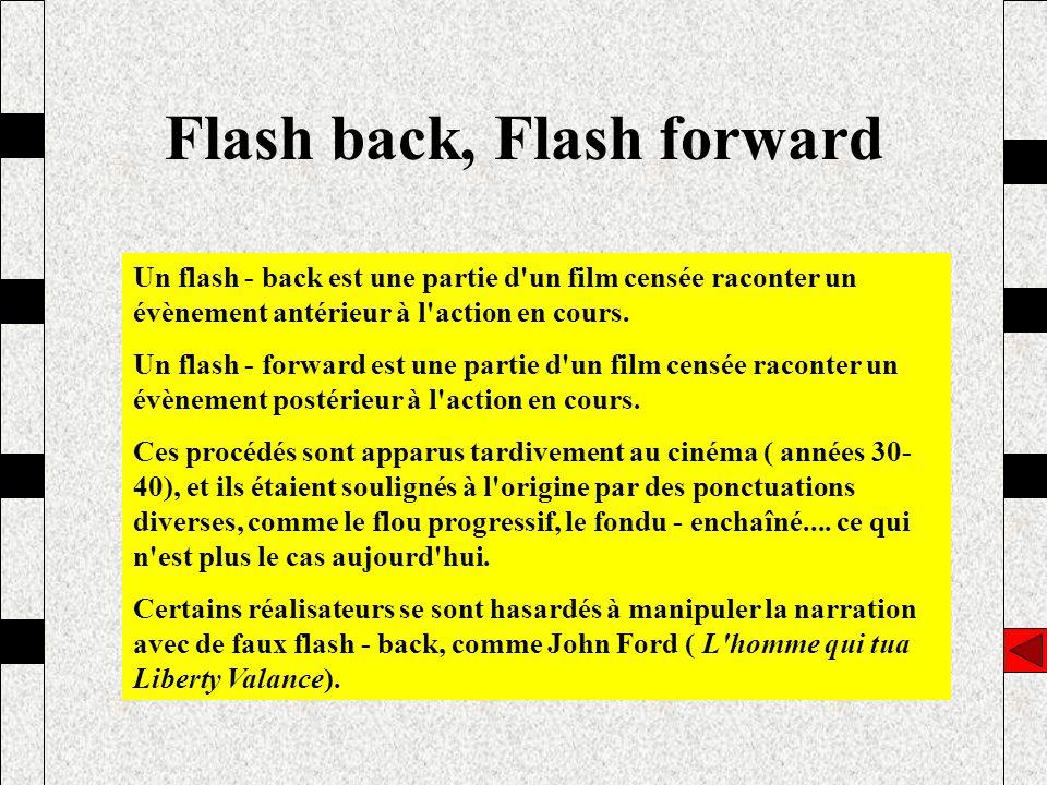 Flash back, Flash forward Un flash - back est une partie d'un film censée raconter un évènement antérieur à l'action en cours. Un flash - forward est