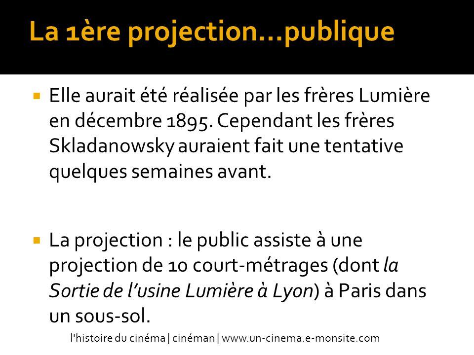 La 1ère projection…publique Elle aurait été réalisée par les frères Lumière en décembre 1895.