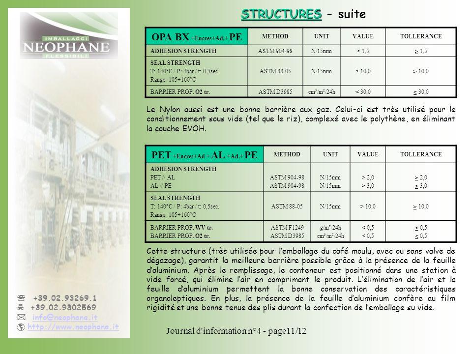 Journal d'information n°4 - page11/12 +39.02.93269.1 +39.02.9302569 info@neophane.it http://www.neophane.it Cette structure (très utilisée pour lembal
