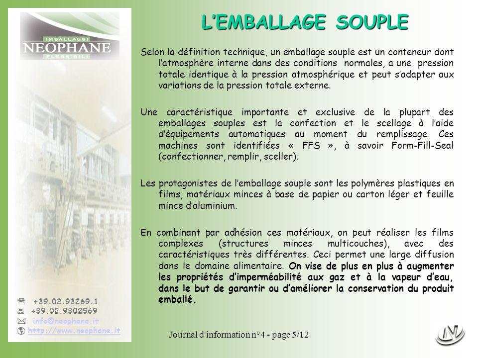 Journal d'information n°4 - page 5/12 +39.02.93269.1 +39.02.9302569 info@neophane.it http://www.neophane.it LEMBALLAGE SOUPLE Selon la définition tech