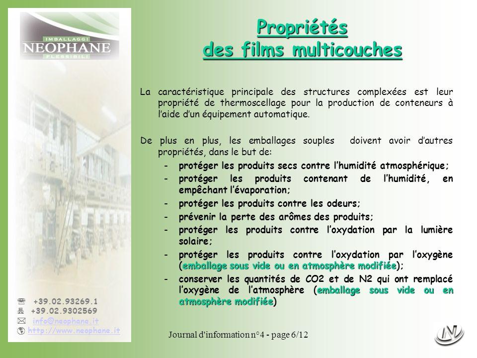 Journal d'information n°4 - page 6/12 +39.02.93269.1 +39.02.9302569 info@neophane.it http://www.neophane.it Propriétés des films multicouches La carac