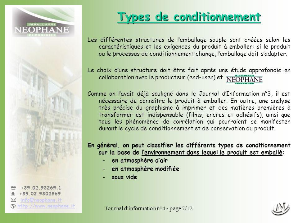 Journal d'information n°4 - page 7/12 +39.02.93269.1 +39.02.9302569 info@neophane.it http://www.neophane.it Types de conditionnement Les différentes s