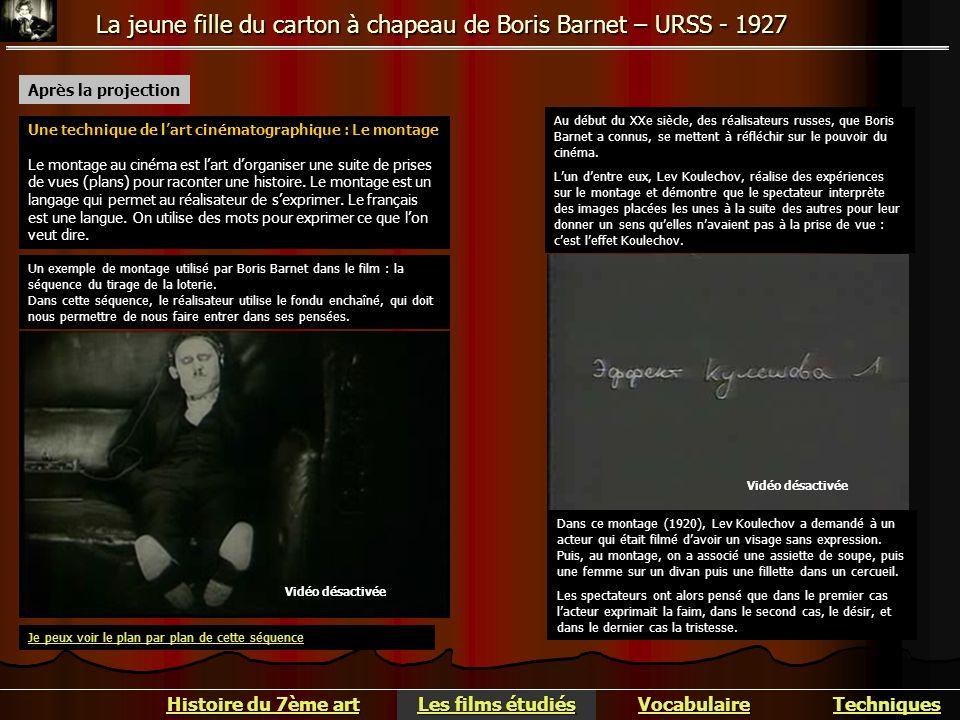 La jeune fille du carton à chapeau de Boris Barnet – URSS - 1927 Après la projection Une technique de lart cinématographique : Le montage Le montage a