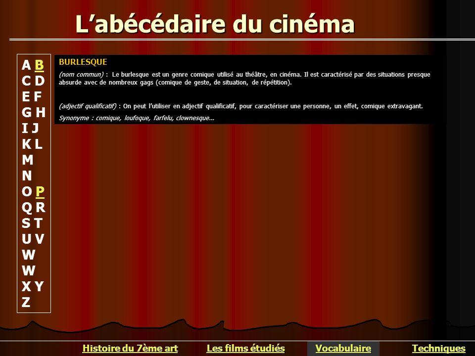 Labécédaire du cinéma BURLESQUE (nom commun) : Le burlesque est un genre comique utilisé au théâtre, en cinéma. Il est caractérisé par des situations
