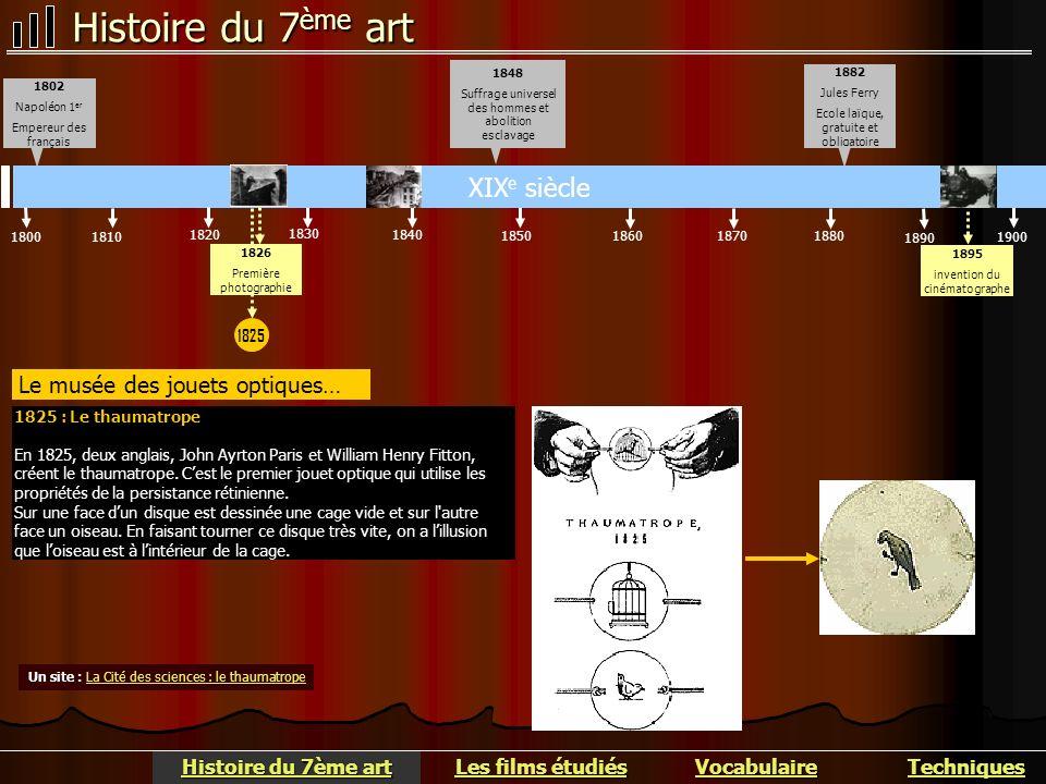 Histoire du 7 ème art Le musée des jouets optiques… 1900 1890 1880187018601850 XIX e siècle 1840 1830 1820 18101800 1882 Jules Ferry Ecole laïque, gra