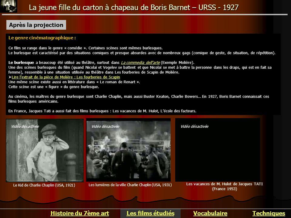 La jeune fille du carton à chapeau de Boris Barnet – URSS - 1927 Après la projection Le genre cinématographique : Ce film se range dans le genre « com