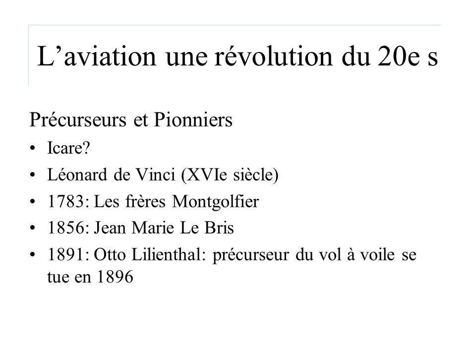 Laviation une révolution du 20e s Précurseurs et Pionniers Icare? Léonard de Vinci (XVIe siècle) 1783: Les frères Montgolfier 1856: Jean Marie Le Bris