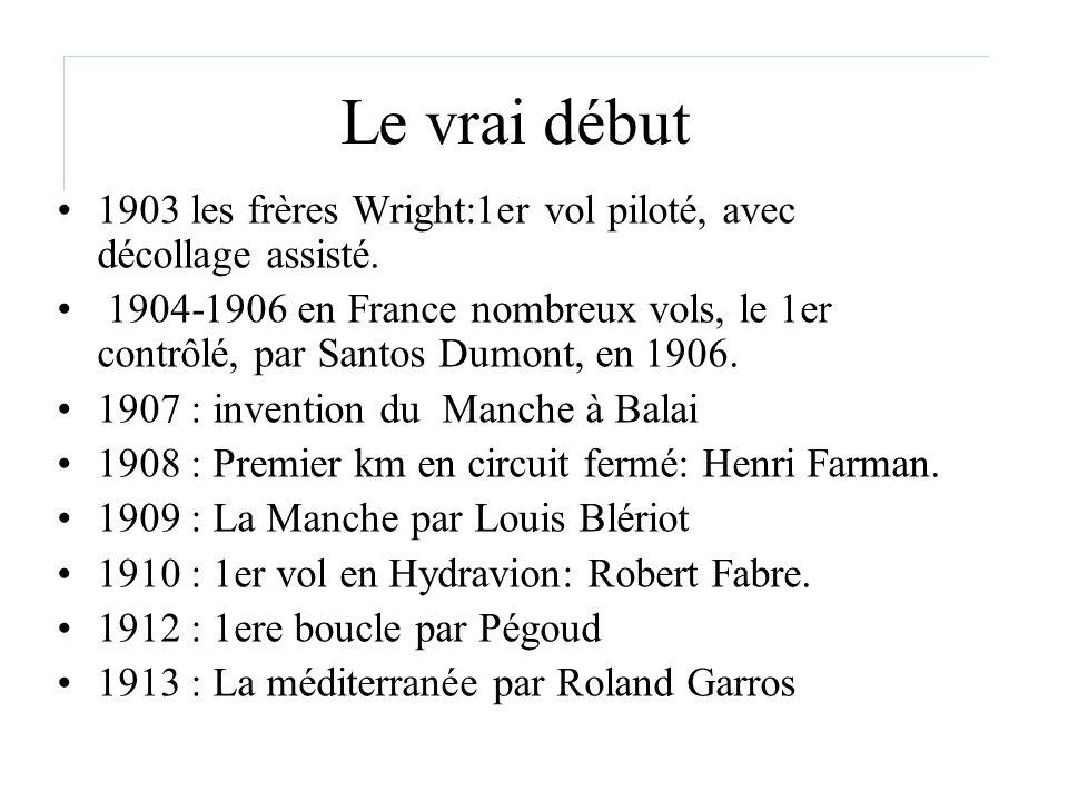 Le vrai début 1903 les frères Wright:1er vol piloté, avec décollage assisté. 1904-1906 en France nombreux vols, le 1er contrôlé, par Santos Dumont, en
