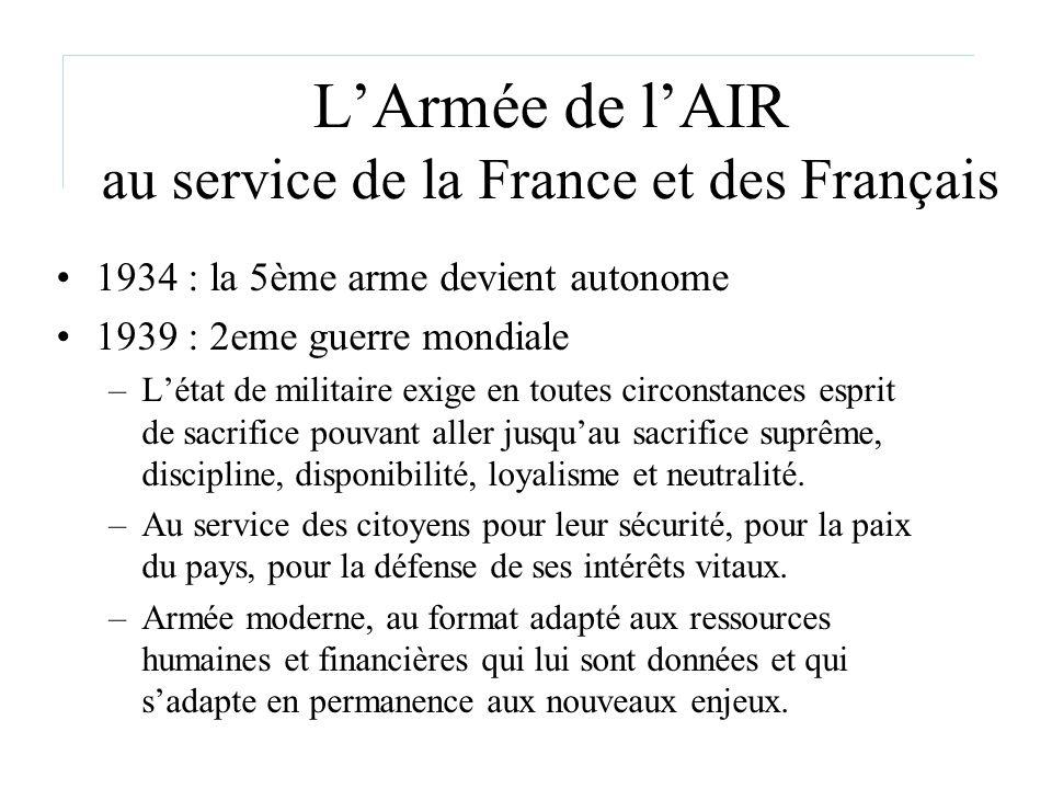 LArmée de lAIR au service de la France et des Français 1934 : la 5ème arme devient autonome 1939 : 2eme guerre mondiale –Létat de militaire exige en t