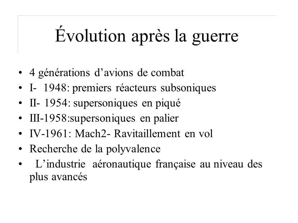Évolution après la guerre 4 générations davions de combat I- 1948: premiers réacteurs subsoniques II- 1954: supersoniques en piqué III-1958:supersoniq