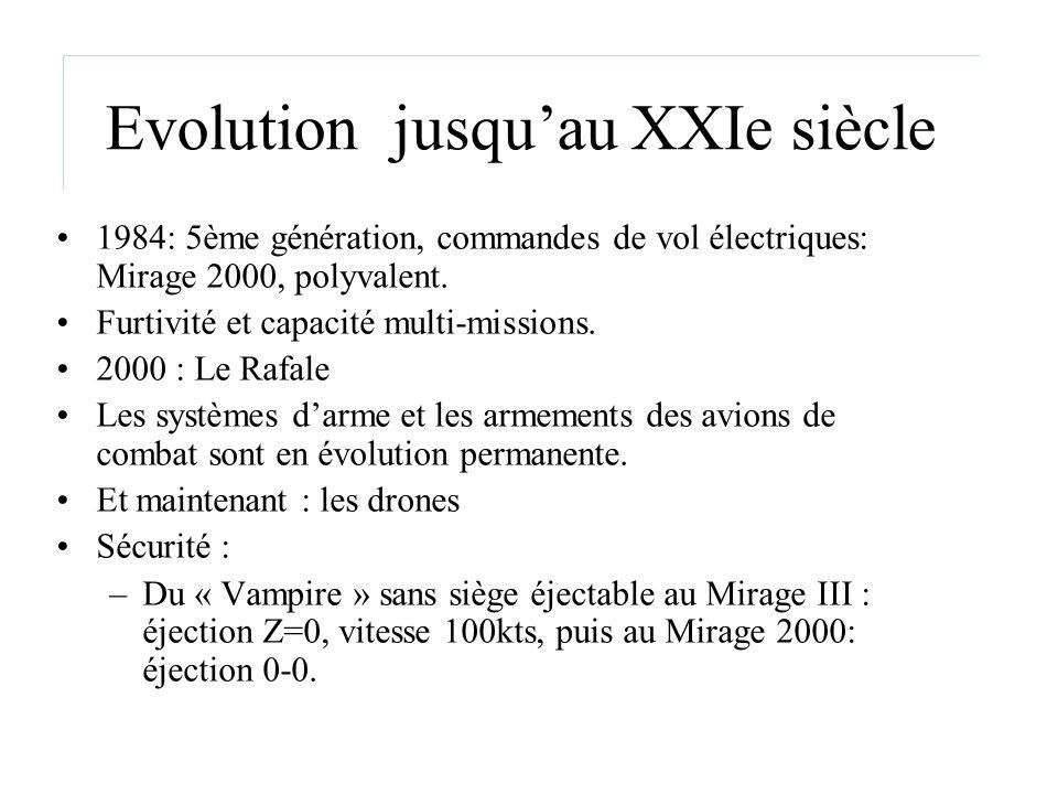 Evolution jusquau XXIe siècle 1984: 5ème génération, commandes de vol électriques: Mirage 2000, polyvalent. Furtivité et capacité multi-missions. 2000