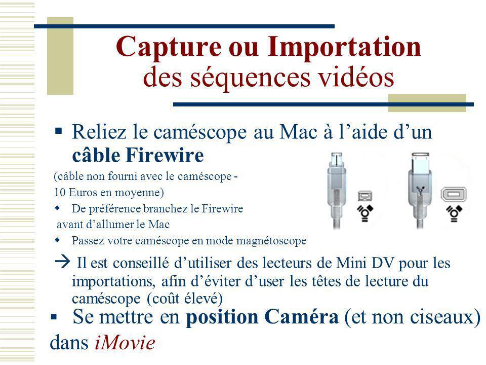 Créer un nouveau projet Ouvrir iMovie / Fichier / Nouveau projet Saisir le nom du projet et désigner son emplacement (Très important pour retrouver vos séquences!) puis enregistrer.
