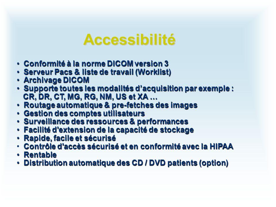 Accessibilité Conformité à la norme DICOM version 3 Conformité à la norme DICOM version 3 Serveur Pacs & liste de travail (Worklist) Serveur Pacs & li