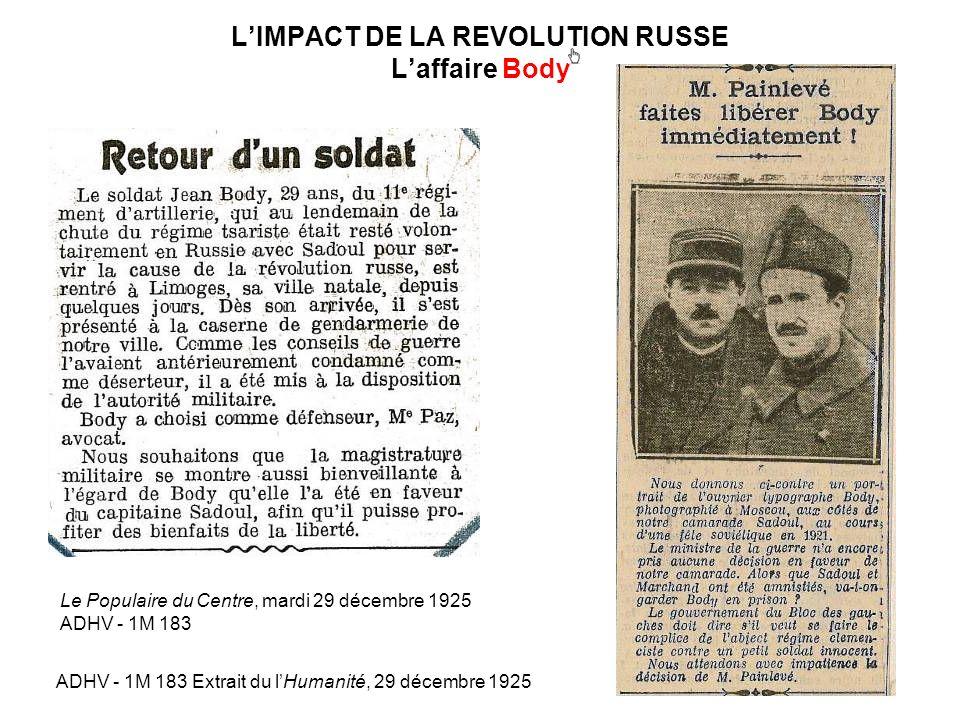 LIMPACT DE LA REVOLUTION RUSSE Laffaire Body Le Populaire du Centre, mardi 29 décembre 1925 ADHV - 1M 183 ADHV - 1M 183 Extrait du lHumanité, 29 décem