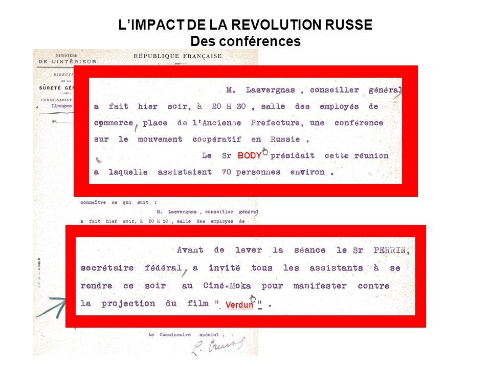 LIMPACT DE LA REVOLUTION RUSSE Des conférences BODY Verdun
