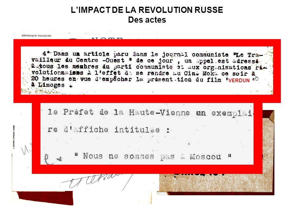 LIMPACT DE LA REVOLUTION RUSSE Des actes VERDUN