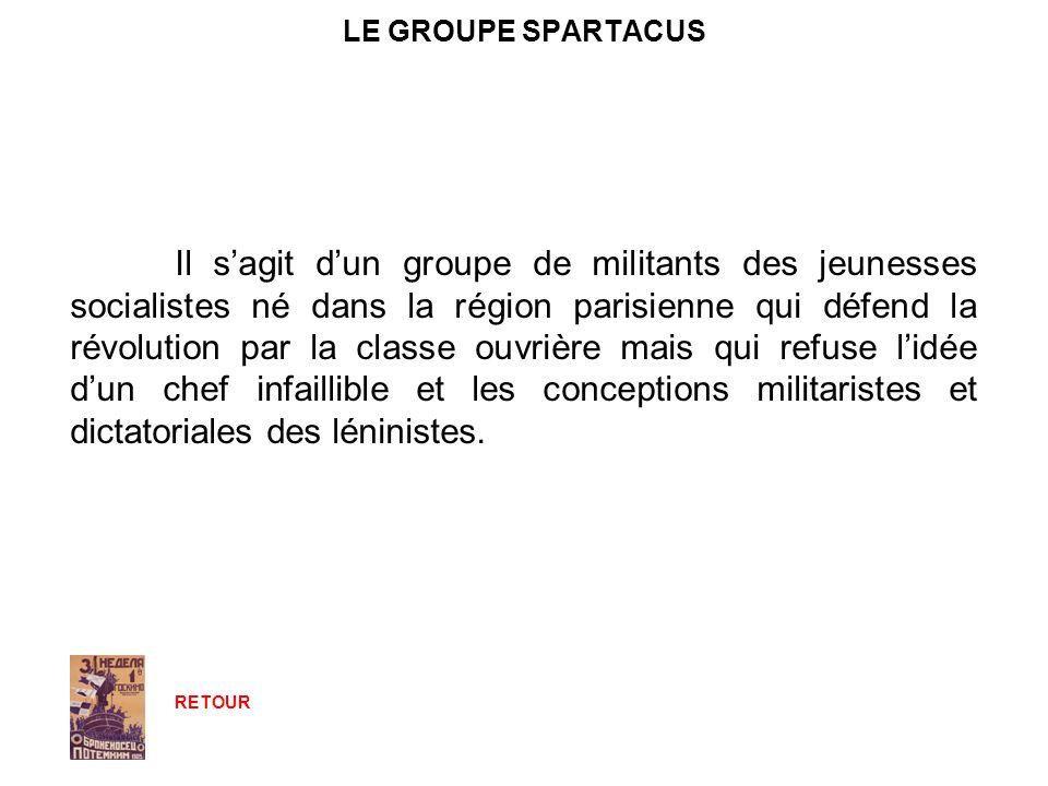 LE GROUPE SPARTACUS Il sagit dun groupe de militants des jeunesses socialistes né dans la région parisienne qui défend la révolution par la classe ouv