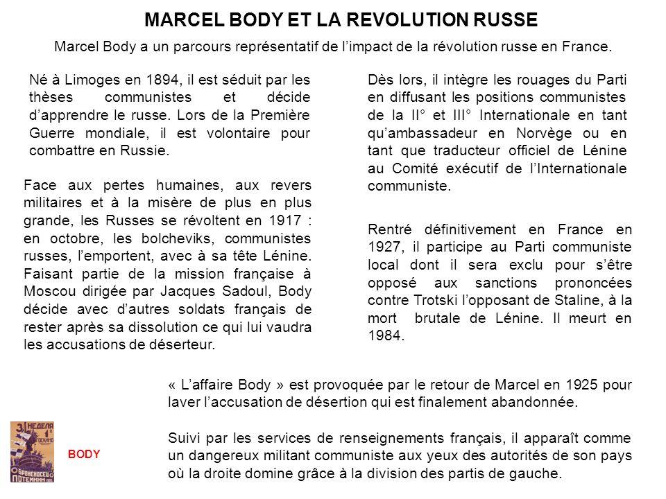 MARCEL BODY ET LA REVOLUTION RUSSE « Laffaire Body » est provoquée par le retour de Marcel en 1925 pour laver laccusation de désertion qui est finalem