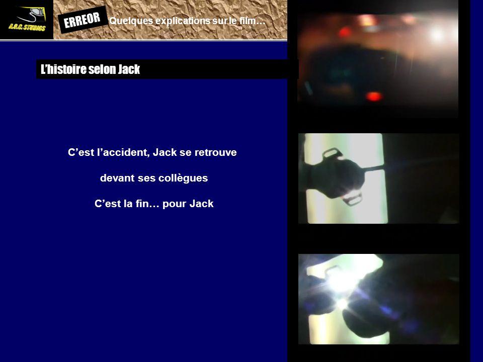 ERREOR: Quelques explications sur le film… Lhistoire selon Jack Cest laccident, Jack se retrouve devant ses collègues Cest la fin… pour Jack