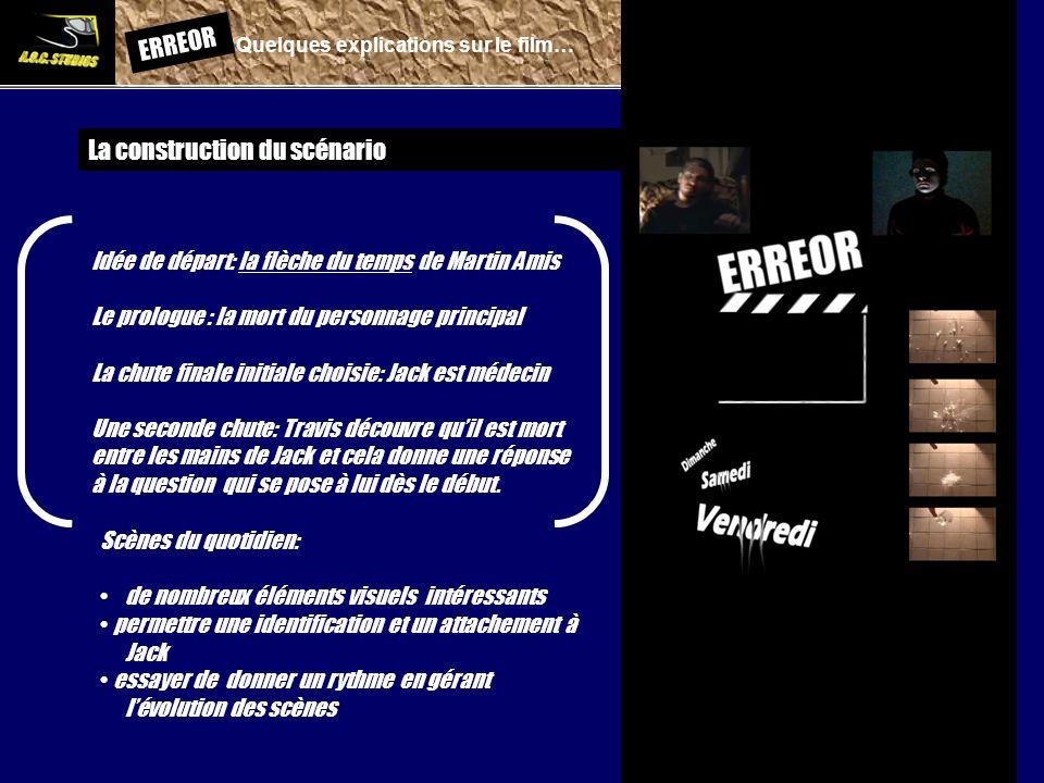 ERREOR: Quelques explications sur le film… La construction du scénario Idée de départ: la flèche du temps de Martin Amis Le prologue : la mort du pers