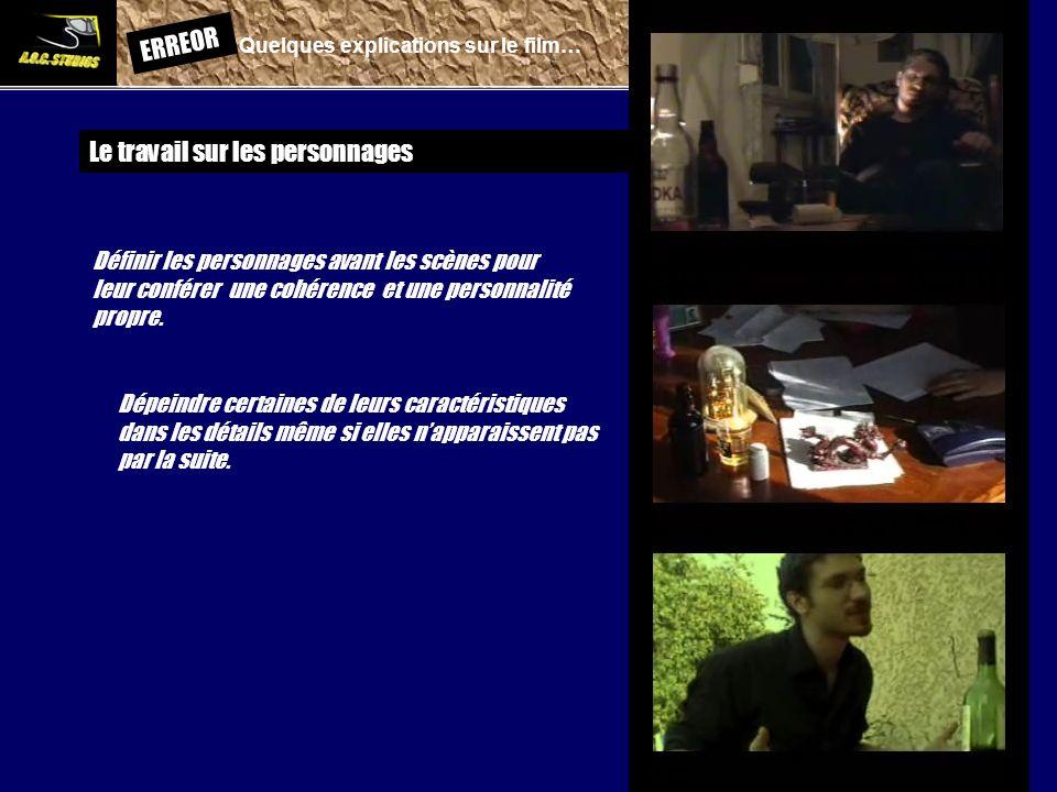 ERREOR: Quelques explications sur le film… Le travail sur les personnages Définir les personnages avant les scènes pour leur conférer une cohérence et
