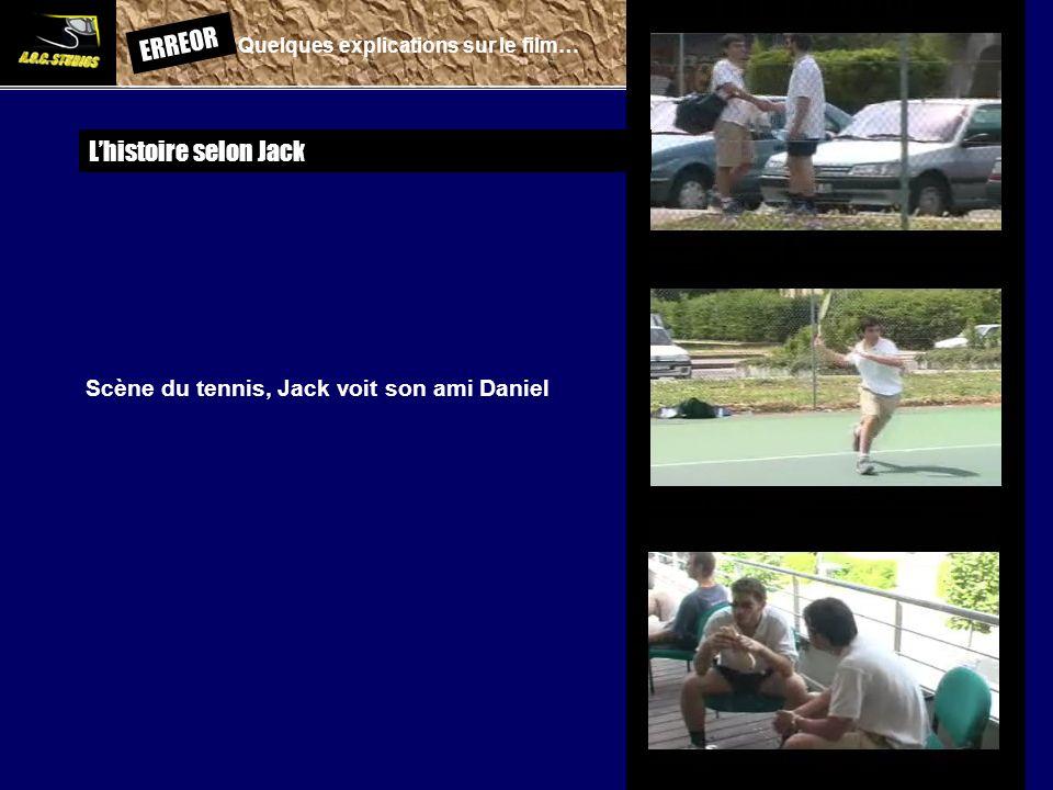 ERREOR: Quelques explications sur le film… Lhistoire selon Jack Scène du tennis, Jack voit son ami Daniel