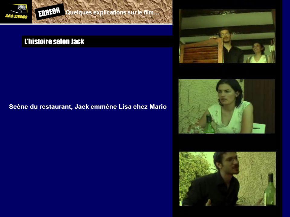 ERREOR: Quelques explications sur le film… Lhistoire selon Jack Scène du restaurant, Jack emmène Lisa chez Mario